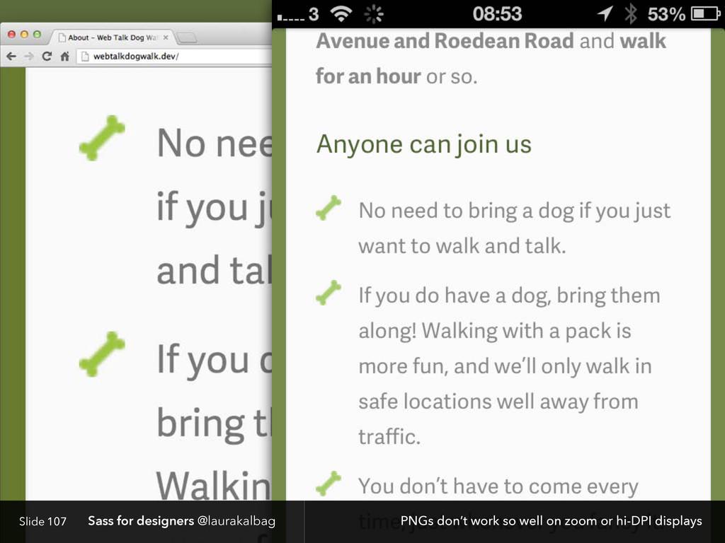 Slide Sass for designers @laurakalbag 107 PNGs ...