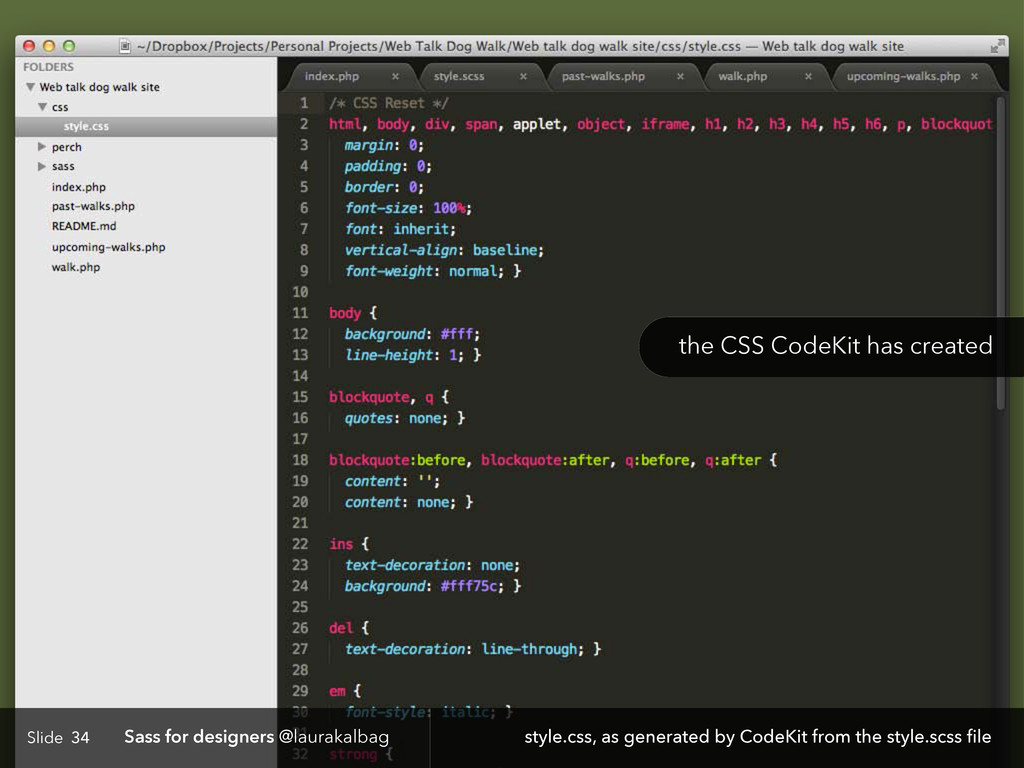 Slide Sass for designers @laurakalbag 34 style....