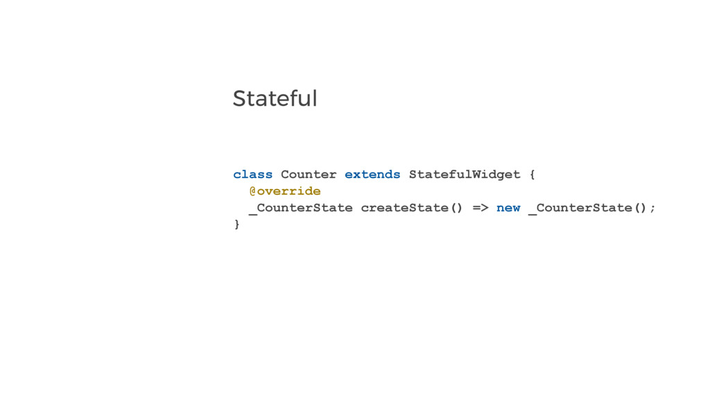 Stateful class Counter extends StatefulWidget {...