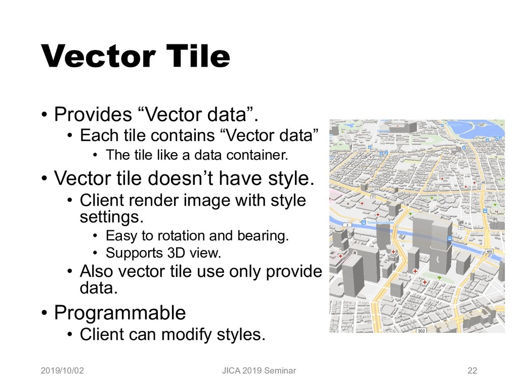 "Vector Tile • Provides ""Vector data"". • Each ti..."
