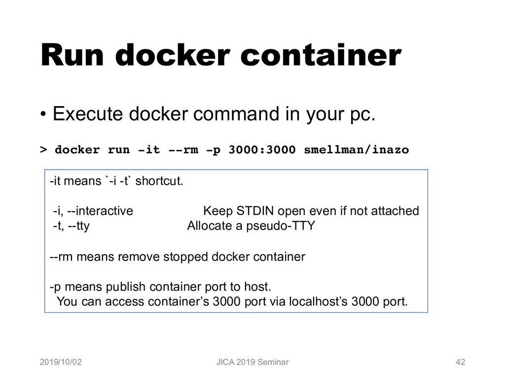 Run docker container • Execute docker command i...