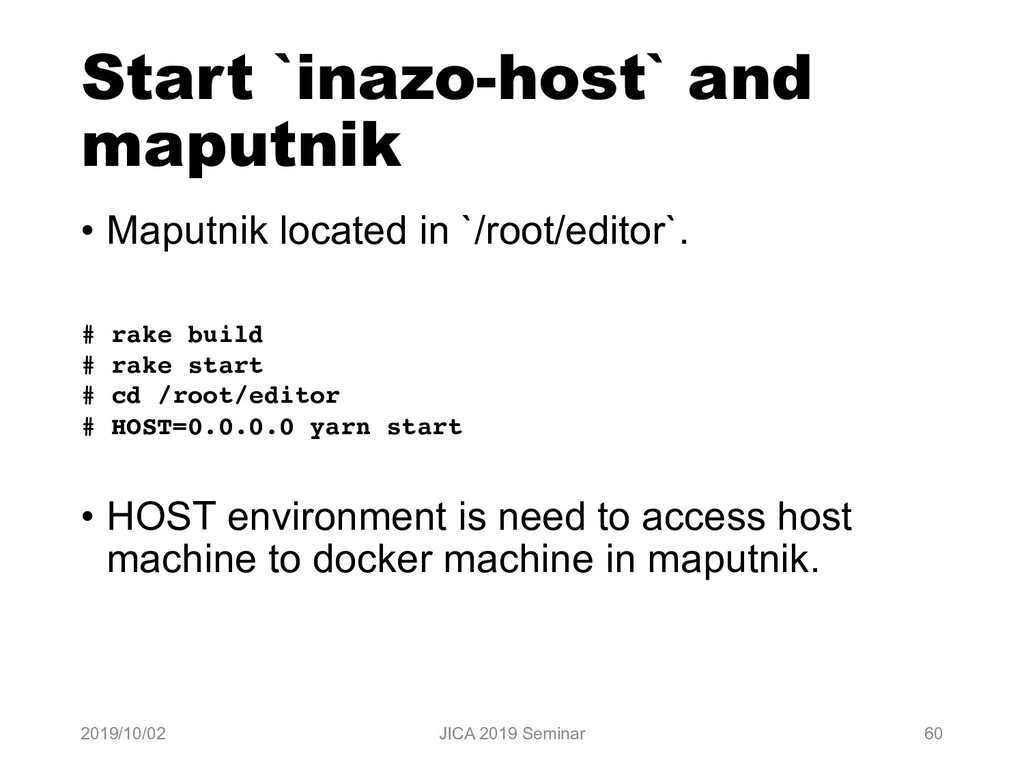 Start `inazo-host` and maputnik • Maputnik loca...