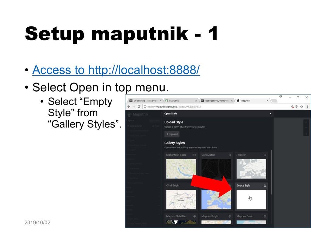 Setup maputnik - 1 • Access to http://localhost...