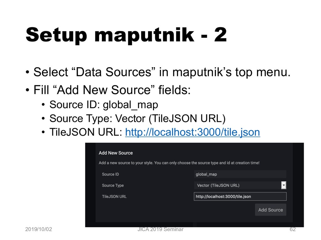 "Setup maputnik - 2 • Select ""Data Sources"" in m..."