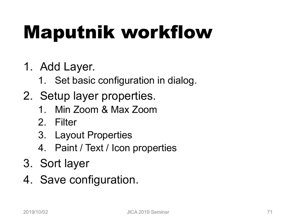 Maputnik workflow 1. Add Layer. 1. Set basic co...