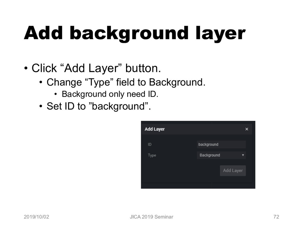 "Add background layer • Click ""Add Layer"" button..."
