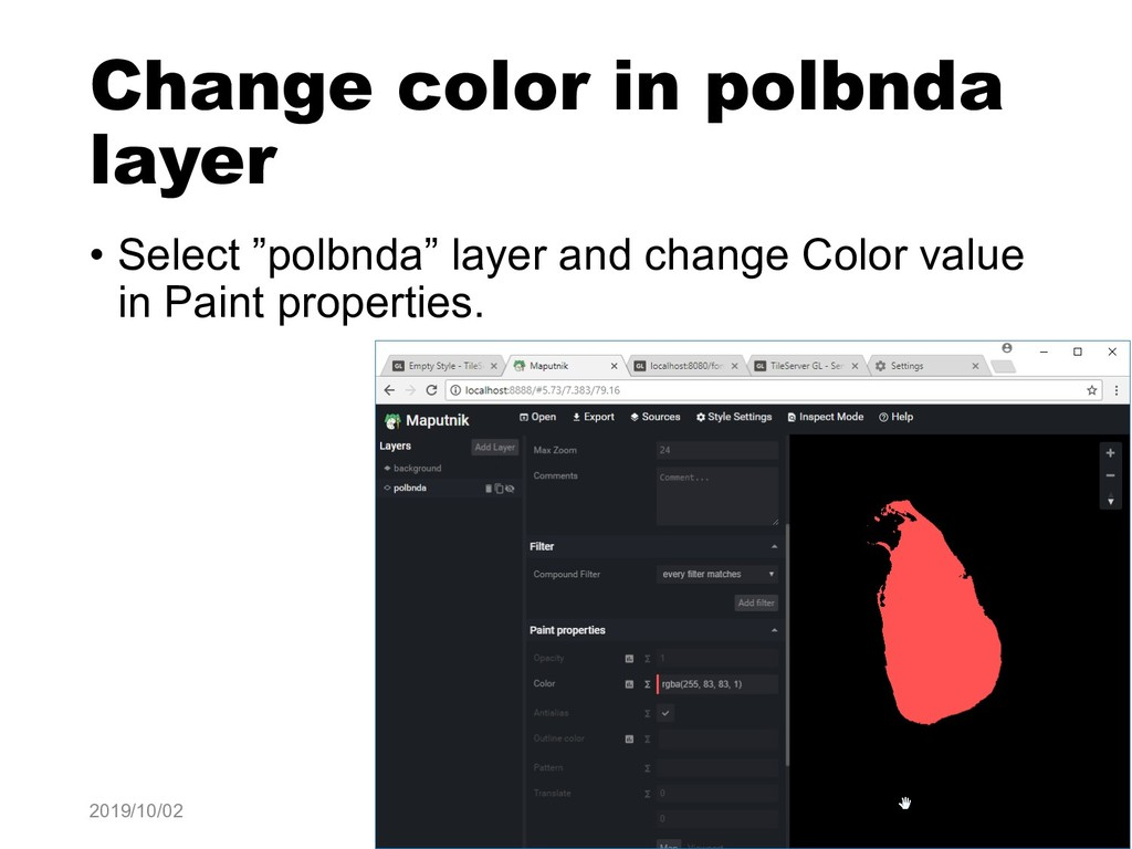 "Change color in polbnda layer • Select ""polbnda..."