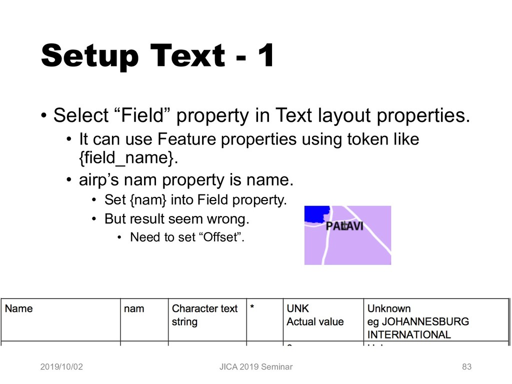 "Setup Text - 1 • Select ""Field"" property in Tex..."