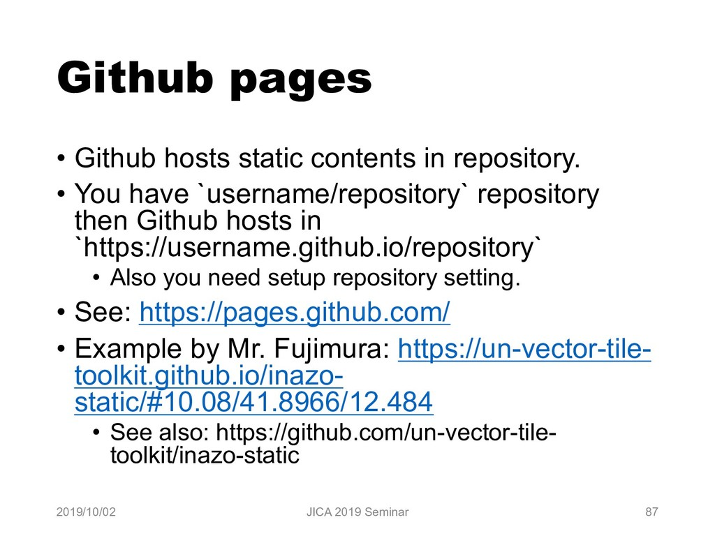 Github pages • Github hosts static contents in ...