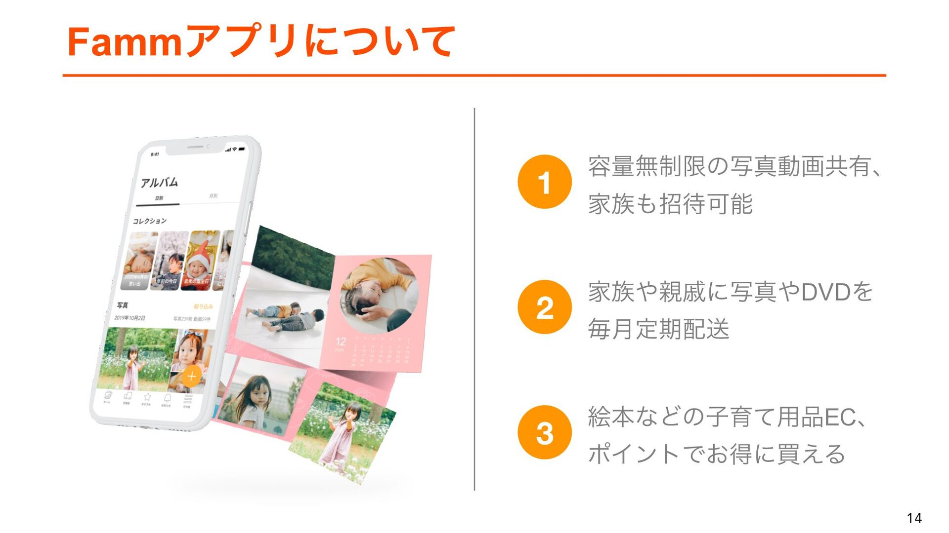 14 14 ソリューション 子育て家族に最適化した複数のサービスを展開 Fammのサービスを利...