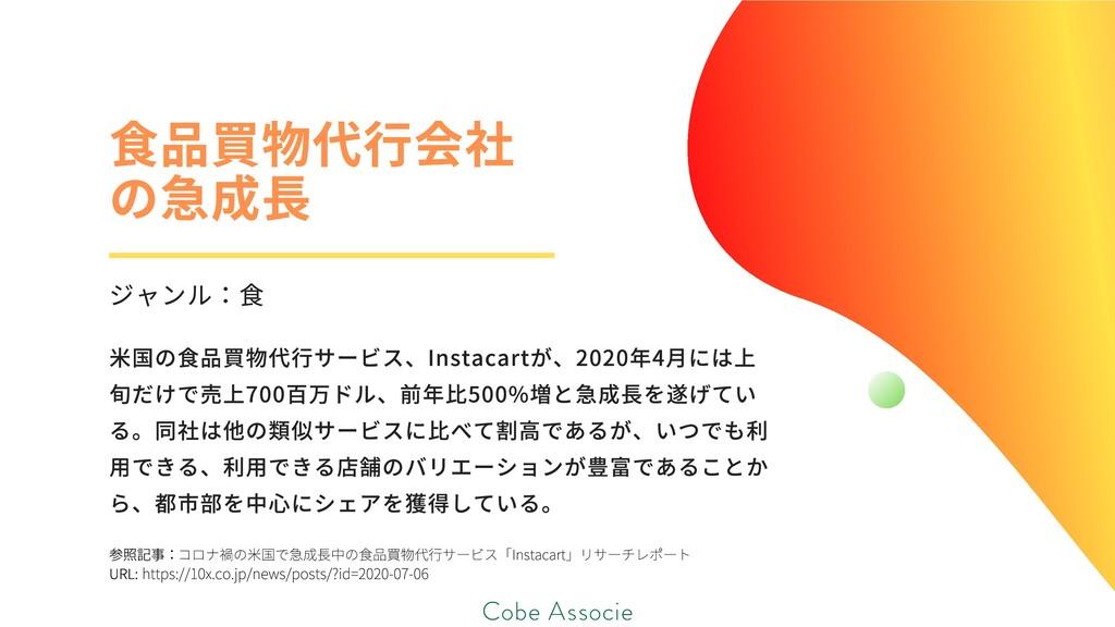 参照記事: URL: コロナ禍の⽶国で急成⻑中の⾷品買物代⾏サービス「Instacart」リサ...