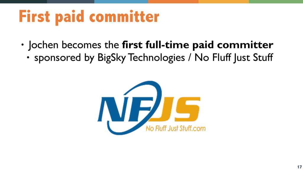 17 First paid committer • Jochen becomes the fi...