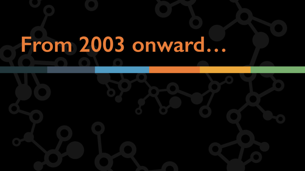 From 2003 onward…