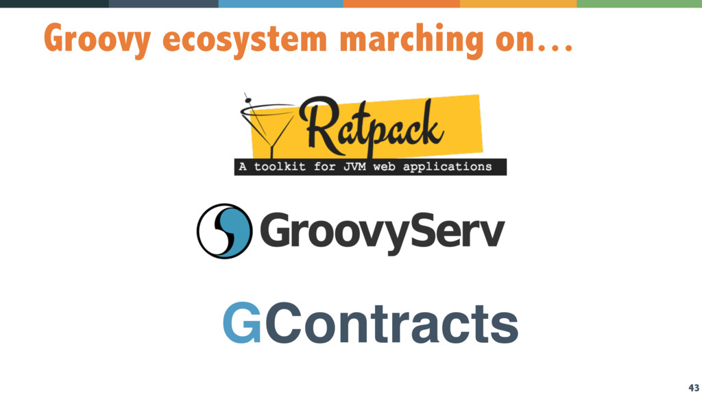 43 Groovy ecosystem marching on… GContracts