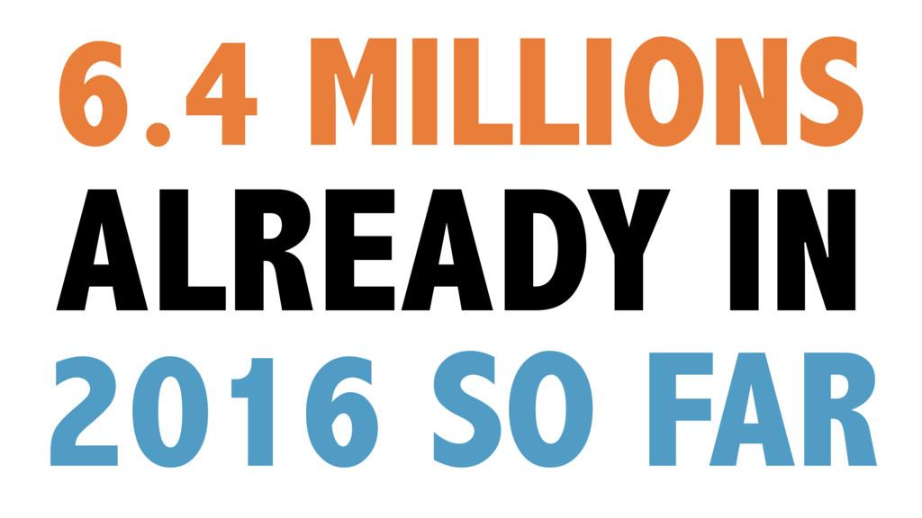 6.4 MILLIONS ALREADY IN 2016 SO FAR