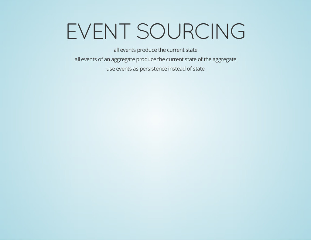 EVENT SOURCING all events produce the current s...