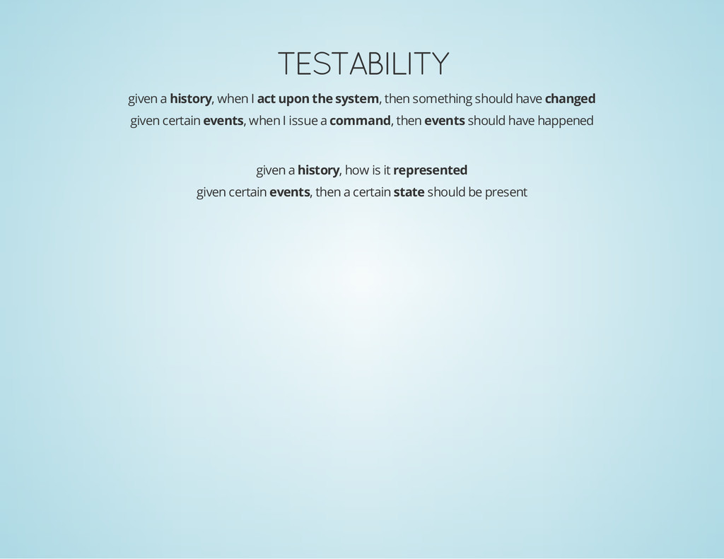 TESTABILITY given a history, when I act upon th...