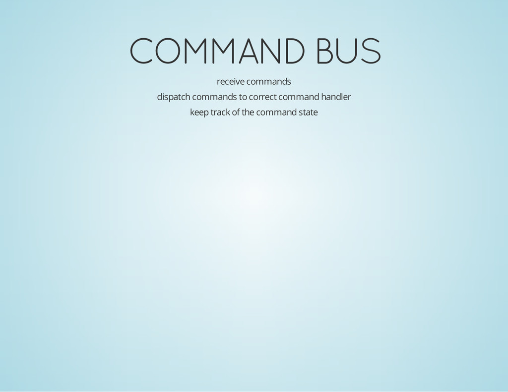 COMMAND BUS receive commands dispatch commands ...