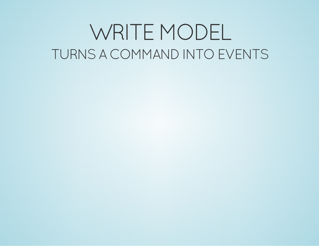 WRITE MODEL TURNS A COMMAND INTO EVENTS