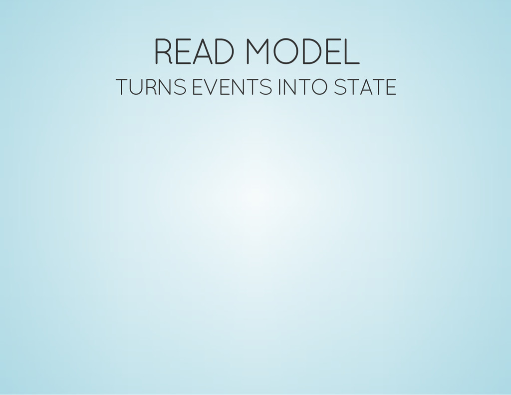 READ MODEL TURNS EVENTS INTO STATE