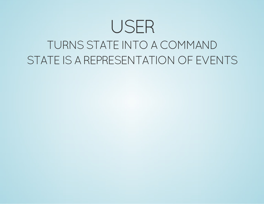 USER TURNS STATE INTO A COMMAND STATE IS A REPR...