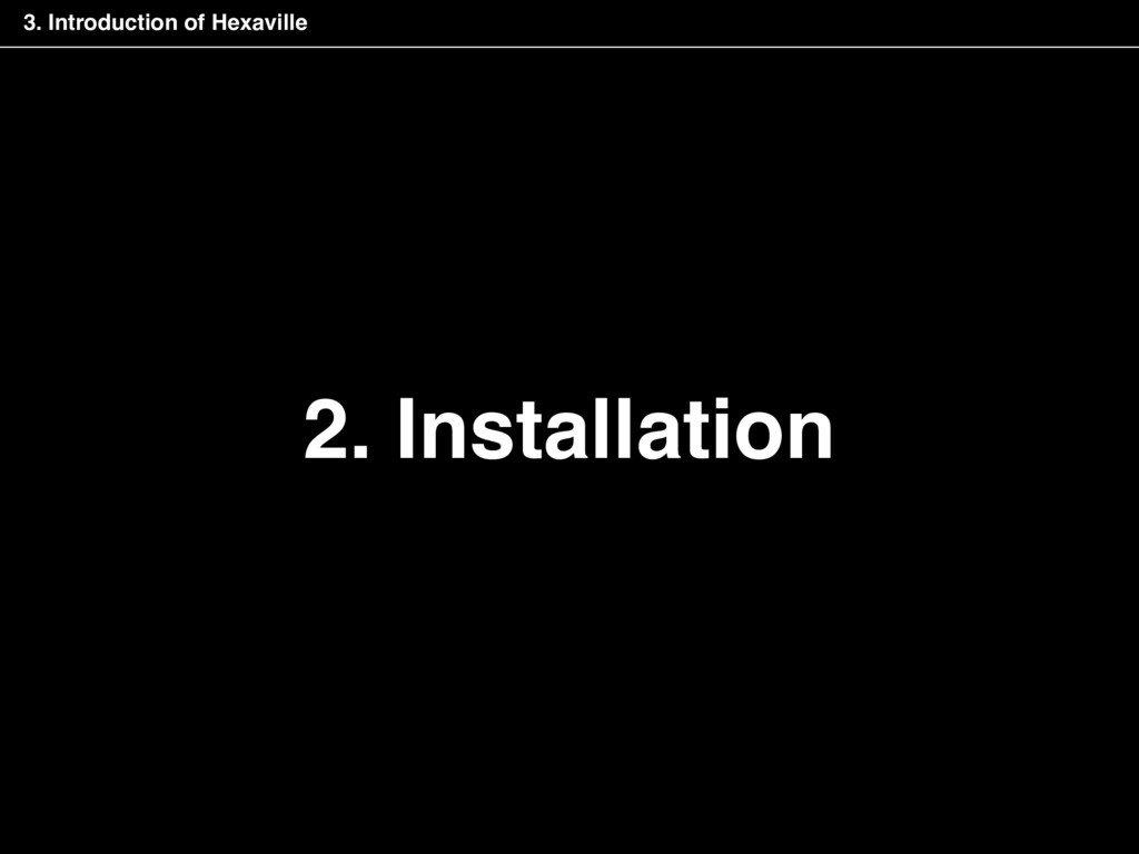 2. Installation 3. Introduction of Hexaville