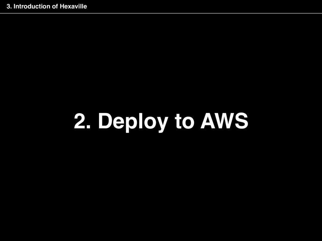 2. Deploy to AWS 3. Introduction of Hexaville