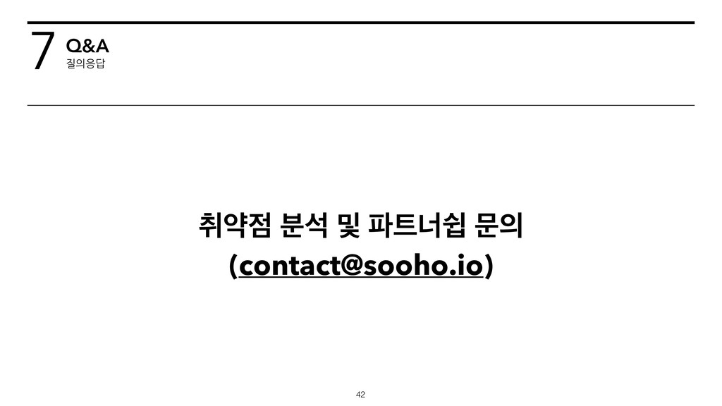 ஂড੼ ࠙ࢳ ߂ ౵౟ցऔ ޙ੄ (contact@sooho.io) !42 7Q&A 질의...