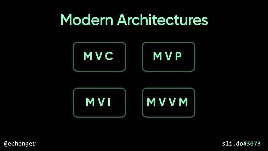 Modern Architectures M V C M V P M V I M V V M ...