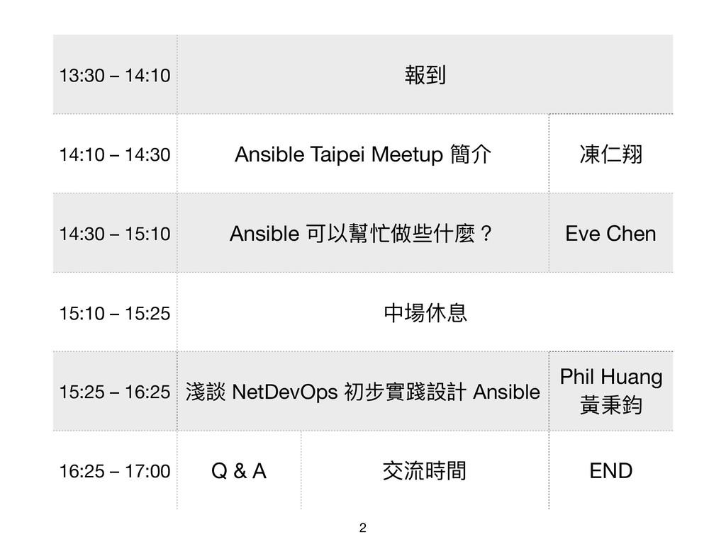 13:30 – 14:10 報到 14:10 – 14:30 Ansible Taipei M...