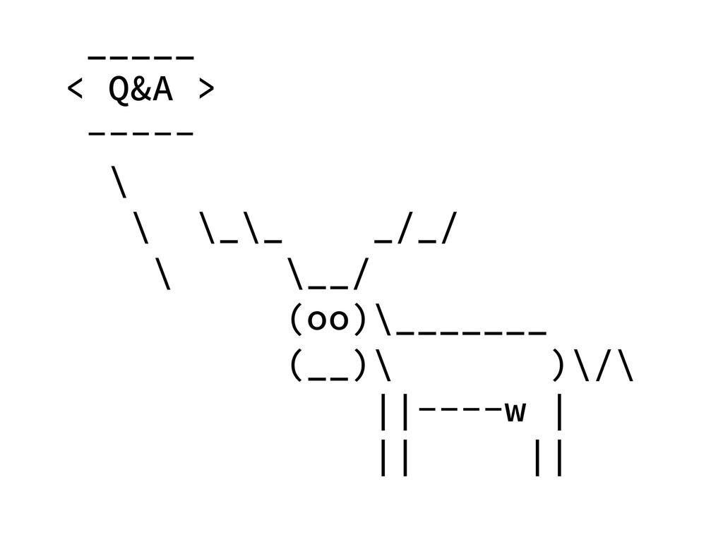 _____ < Q&A > ----- \ \ \_\_ _/_/ \ \__/ (oo)\_...
