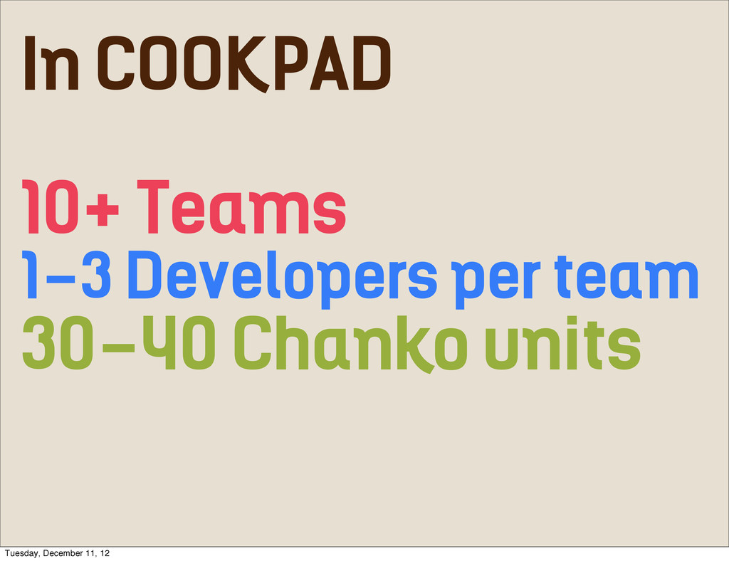 10+ Teams 30-40 Chanko units 1-3 Developers per...