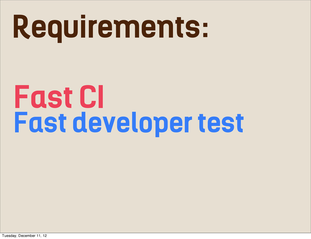 Fast CI Fast developer test Requirements: Tuesd...