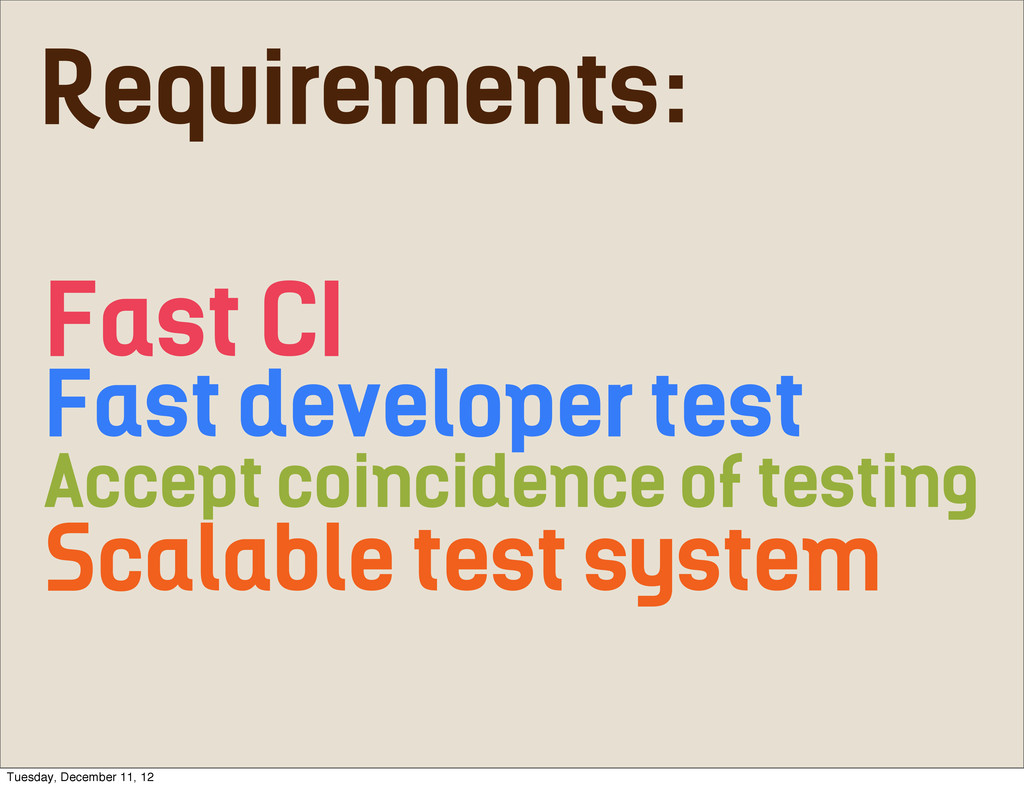 Fast CI Fast developer test Accept coincidence ...