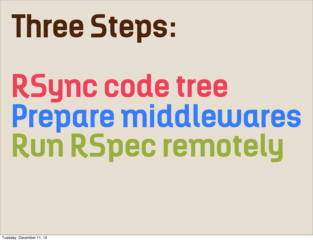 Three Steps: RSync code tree Prepare middleware...