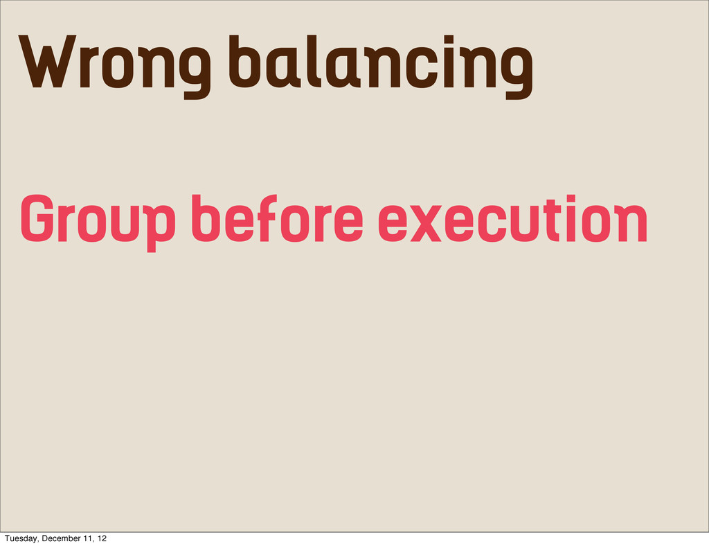 Wrong balancing Group before execution Tuesday,...