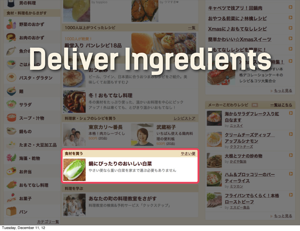 Deliver Ingredients Tuesday, December 11, 12