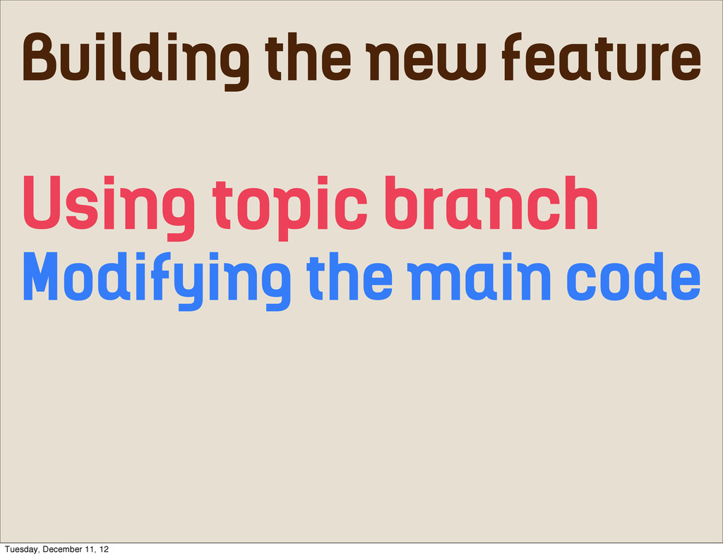 Building the new feature Using topic branch Mod...