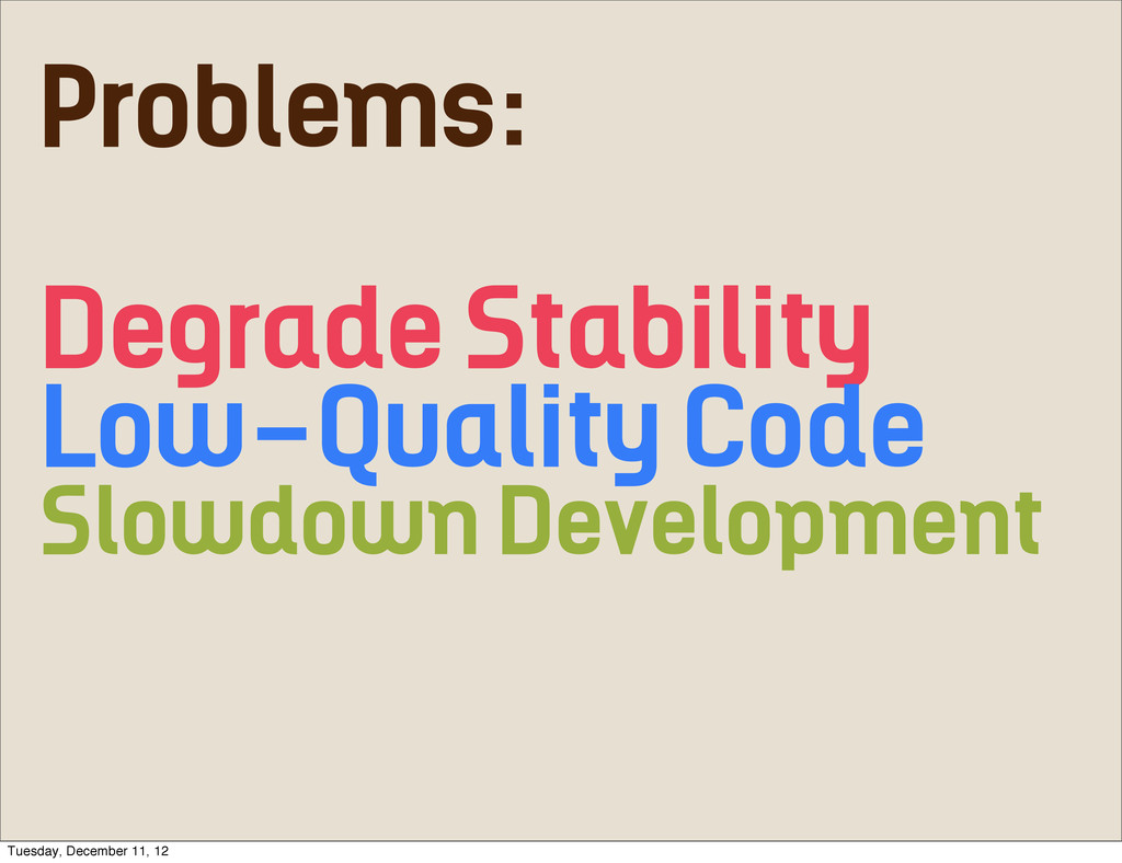 Problems: Degrade Stability Low-Quality Code Sl...