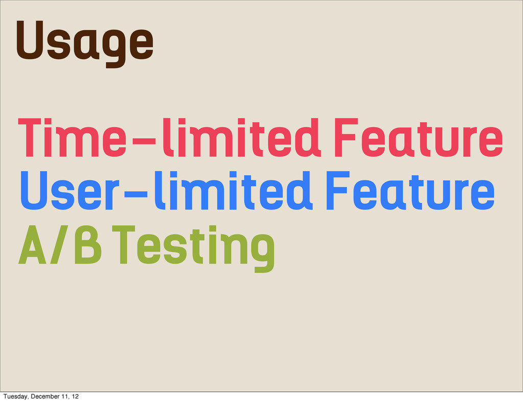 Time-limited Feature User-limited Feature A/B T...