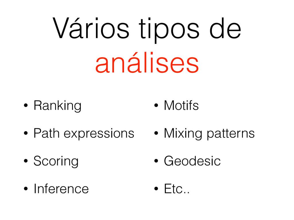 Vários tipos de análises • Ranking • Path expre...