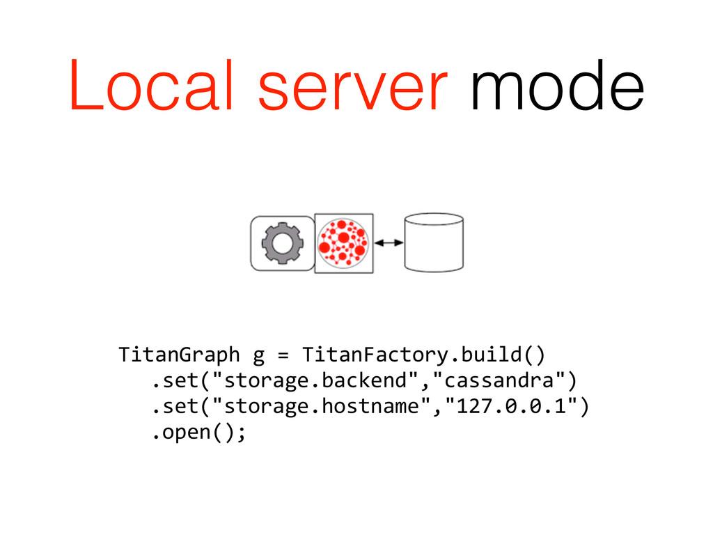 Local server mode TitanGraph g = Titan...