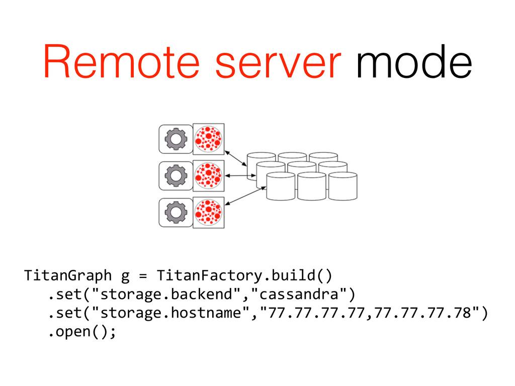 Remote server mode TitanGraph g = Tita...