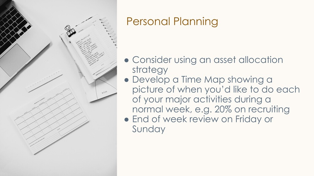 Personal Planning ● Consider using an asset all...