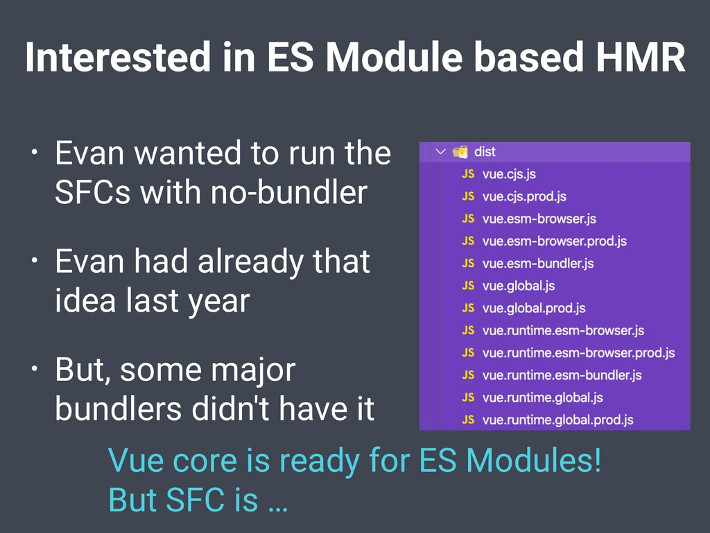 Interested in ES Module based HMR • Evan wanted...