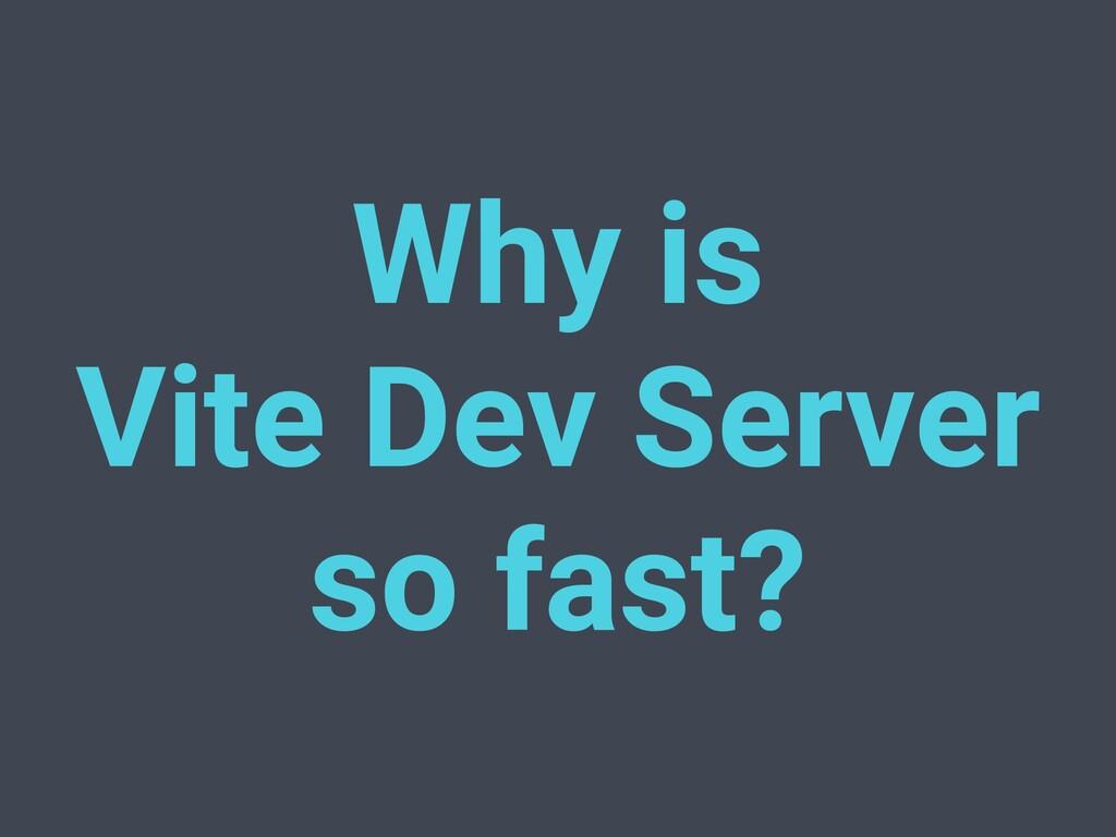Why is Vite Dev Server so fast?