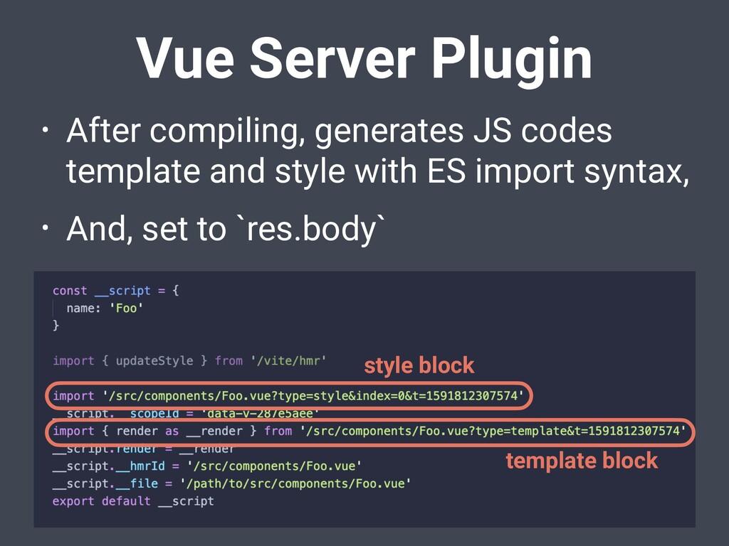 Vue Server Plugin • After compiling, generates ...