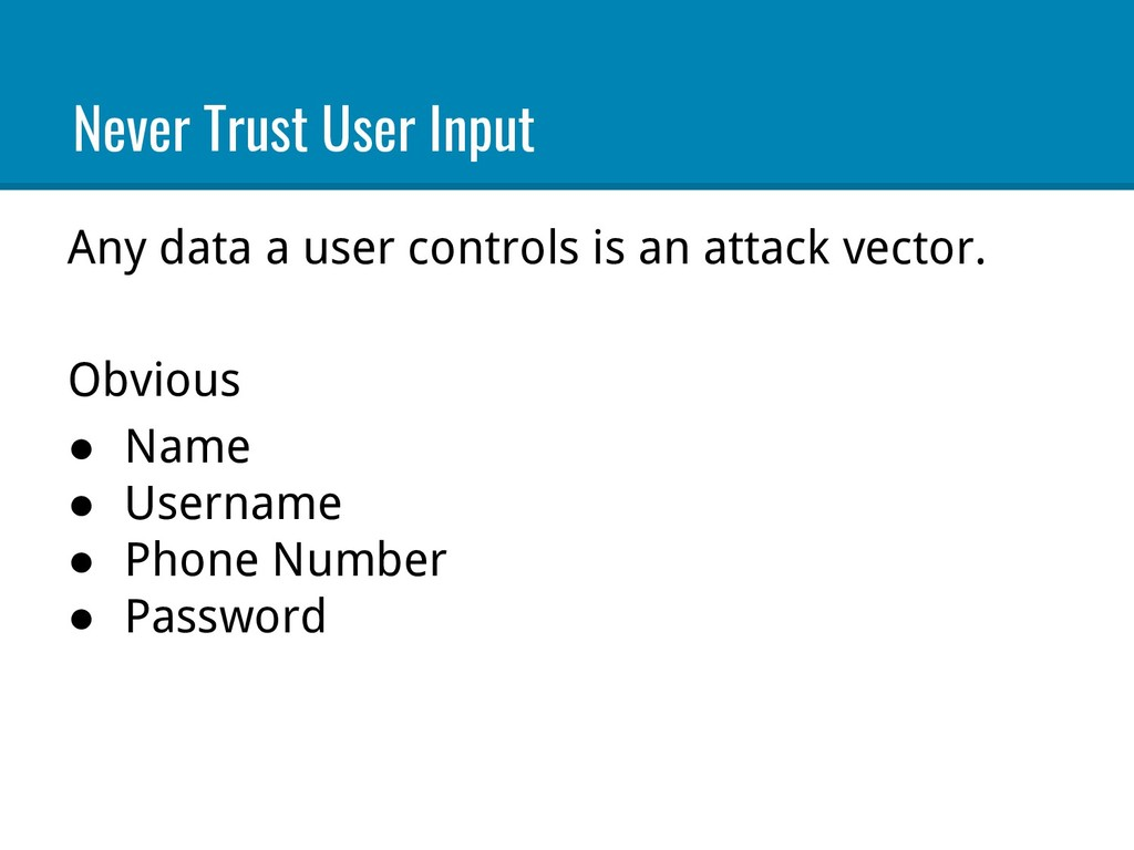 Any data a user controls is an attack vector. O...