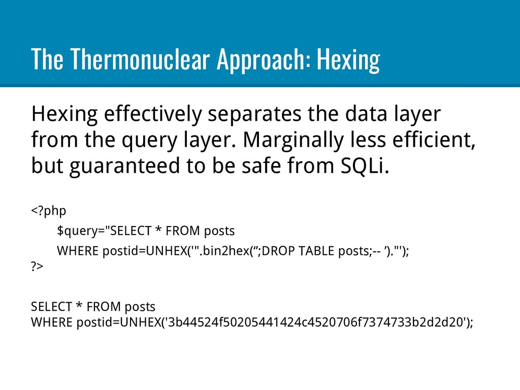 The Thermonuclear Approach: Hexing Hexing effec...