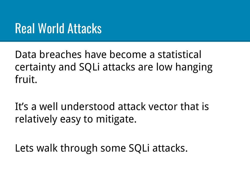 Real World Attacks Data breaches have become a ...